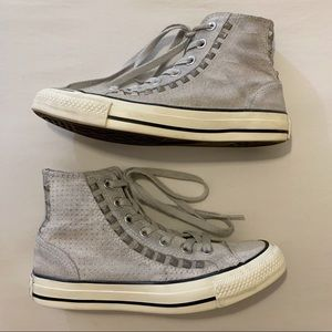 Converse All Star Gray Suede Studded High Tops